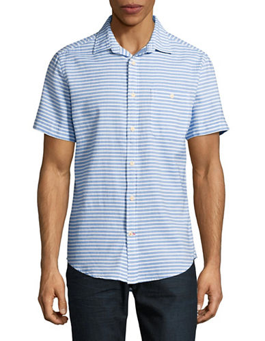 Tommy Hilfiger Striped Sport Shirt-BLUE-Small