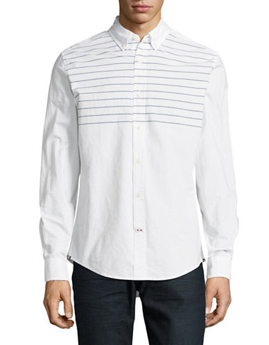 Tommy Hilfiger Colby Striped Sport Shirt-WHITE-X-Large