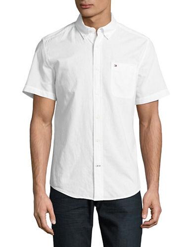 Tommy Hilfiger Wainwright Short Sleeve Cotton Shirt-WHITE-Small