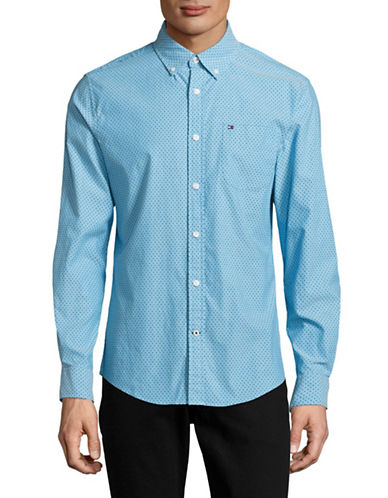 Tommy Hilfiger Kerouac Square Print Sport Shirt-BLUE-Small