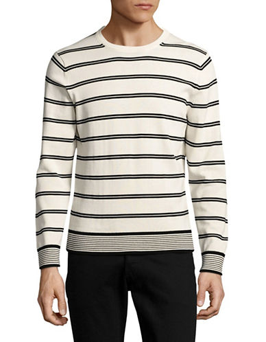 Tommy Hilfiger Coupled Stripe Crew Neck Sweater-WHITE-X-Large