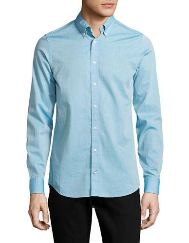 Tommy Hilfiger Slim Fit Dobby Print Sport Shirt-BLUE-XX-Large