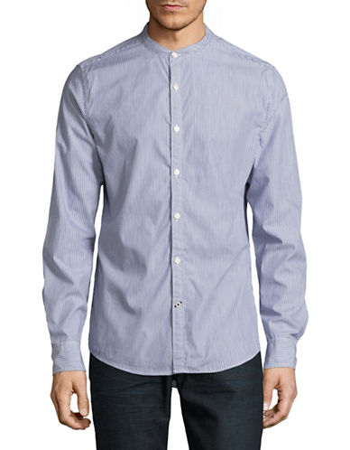 Tommy Hilfiger Hemsley Striped Sport Shirt-BLUE-Small
