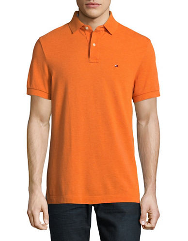 Tommy Hilfiger Custom-Fit Solid Polo-ORANGE-Medium