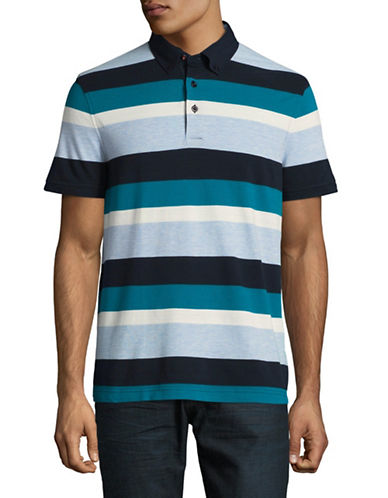 Tommy Hilfiger Custom-Fit Striped Polo-PURPLE-Medium