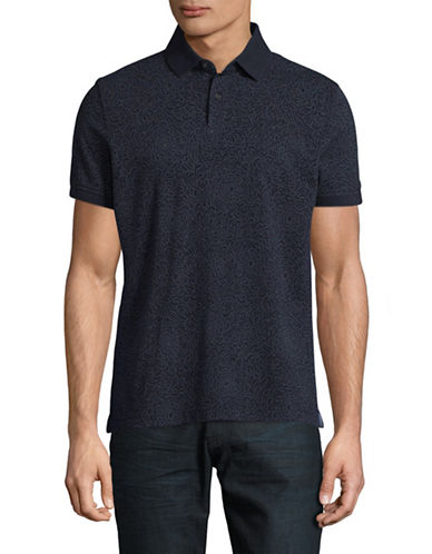 Tommy Hilfiger Custom-Fit Printed Polo-BLUE-Small