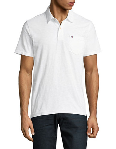 Tommy Hilfiger Custom-Fit Pocket Polo-BRIGHT WHITE-Small