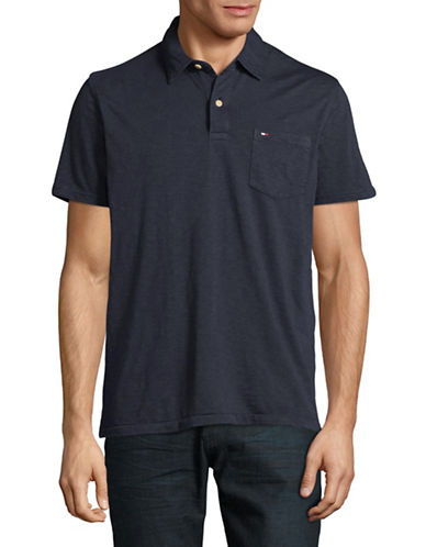 Tommy Hilfiger Custom-Fit Pocket Polo-NAVY-X-Large