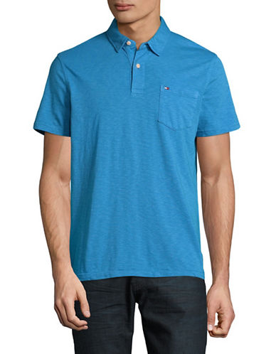 Tommy Hilfiger Custom-Fit Pocket Polo-BLUE-Medium