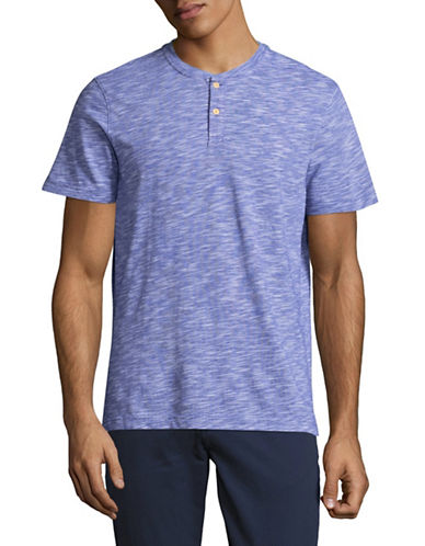Tommy Hilfiger Short Sleeve Spacedye Henley-BLUE-Small