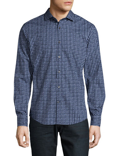 Tommy Hilfiger Custom-Fit Geo-Printed Floral Sport Shirt-BLUE-X-Large