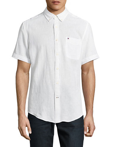 Tommy Hilfiger Linen-Blend Sport Shirt-WHITE-Small