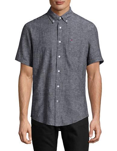 Tommy Hilfiger Linen-Blend Sport Shirt-NAVY-Small