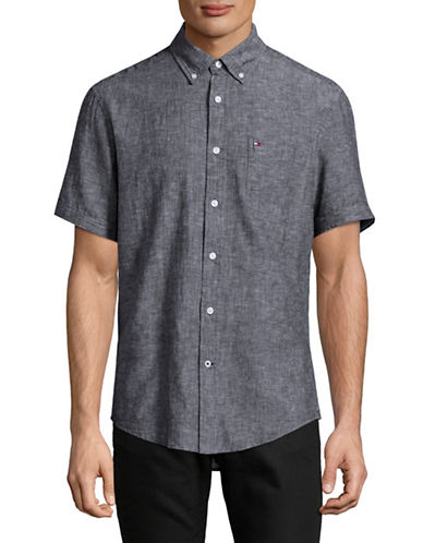Tommy Hilfiger Linen-Blend Sport Shirt-NAVY-Large
