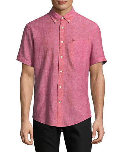 Tommy Hilfiger Linen-Blend Sport Shirt-RED-Medium
