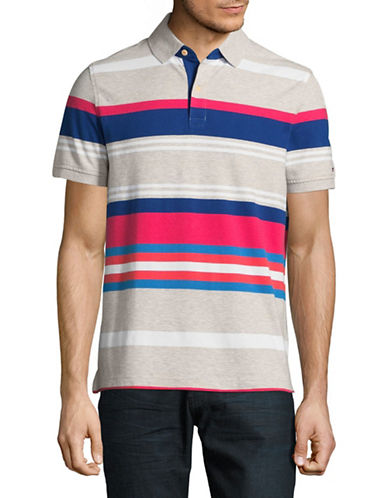 Tommy Hilfiger Cotton-Linen Stripe Polo-LIGHT GREY-Small