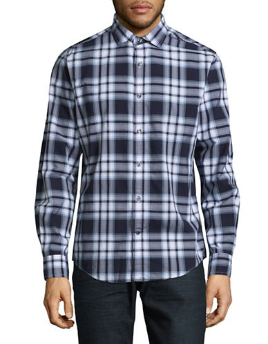 Tommy Hilfiger Harris Plaid Sport Shirt-BLUE-X-Large