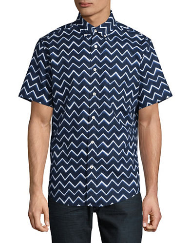 Tommy Hilfiger Custom Fit Allover Chevron Shirt-BLUE-Medium