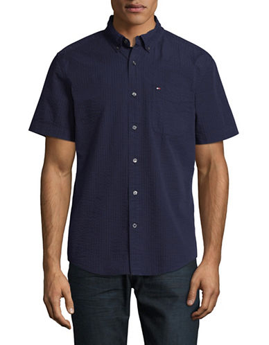 Tommy Hilfiger Seersucker Short-Sleeve Shirt-BLUE-Medium