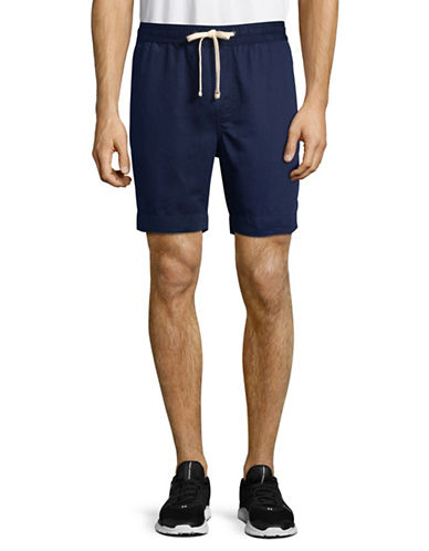 Tommy Hilfiger Drawstring Cotton-Linen Shorts-BLUE-XX-Large