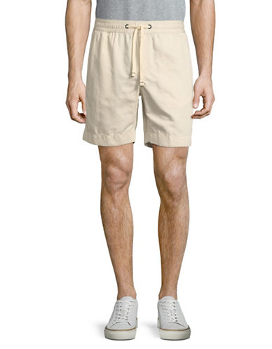 Tommy Hilfiger Drawstring Cotton-Linen Shorts-GREY-Medium