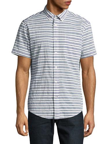 Tommy Hilfiger Custom-Fit Striped Short Sleeve Shirt-BLUE-X-Large