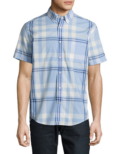 Tommy Hilfiger Roth Plaid Short Sleeve Shirt-BLUE-Medium