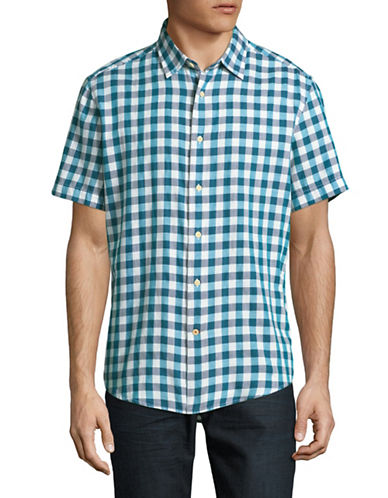 Tommy Hilfiger Custom-Fit Plaid Short-Sleeve Shirt-BLUE-Large