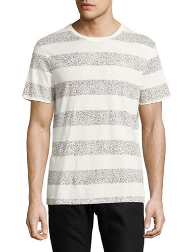 Tommy Hilfiger Printed Stripe T-Shirt-WHITE-Small