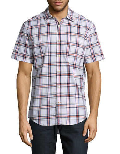 Tommy Hilfiger Custom-Fit Brison Plaid Sport Shirt-WHITE-Large