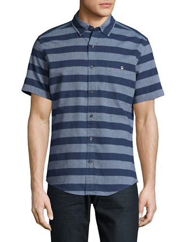 Tommy Hilfiger Nate Stripe Short Sleeve Shirt-BLUE-X-Large