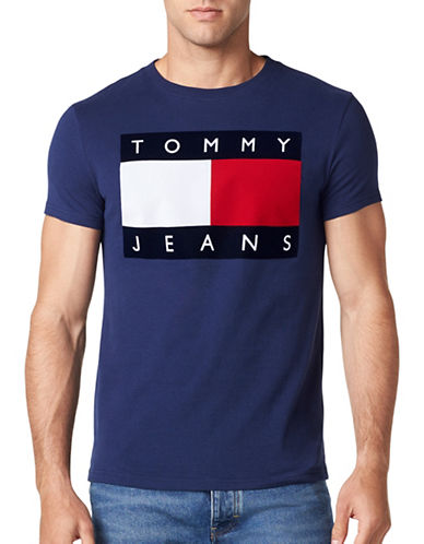 Tommy Jeans 90s Cotton Flock Tee-BLUE-Medium
