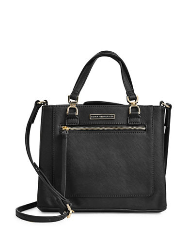 Tommy Hilfiger Saffiano Zip-Front Satchel-BLACK-One Size