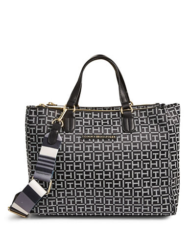 Tommy Hilfiger Woven Monogram Tote-BLACK-One Size