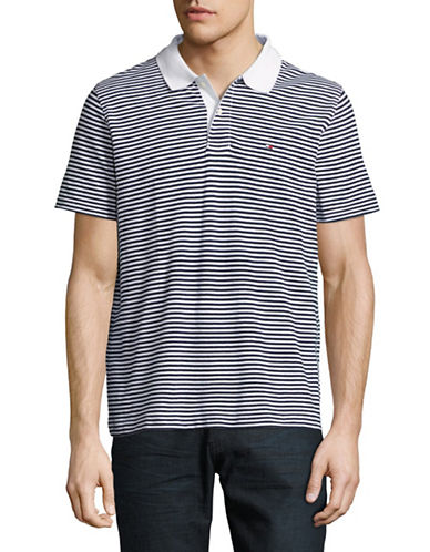 Tommy Hilfiger Striped Wicking Polo-BRIGHT WHITE-X-Large