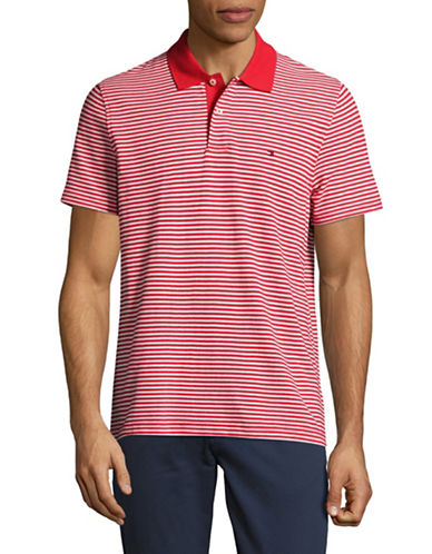 Tommy Hilfiger Striped Wicking Polo-RED-Small