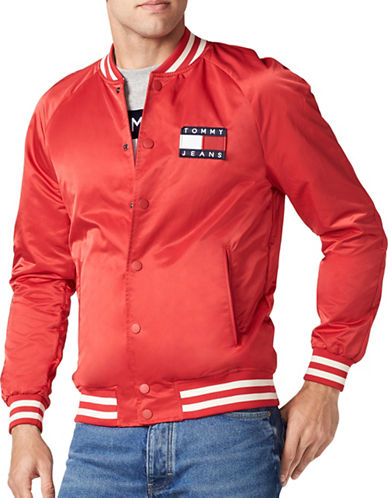 Tommy Jeans 90s Satin Bomber Jacket-RED-X-Small
