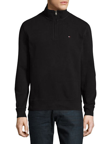 Tommy Hilfiger Cotton Quarter Zip Sweater-BLACK-Large