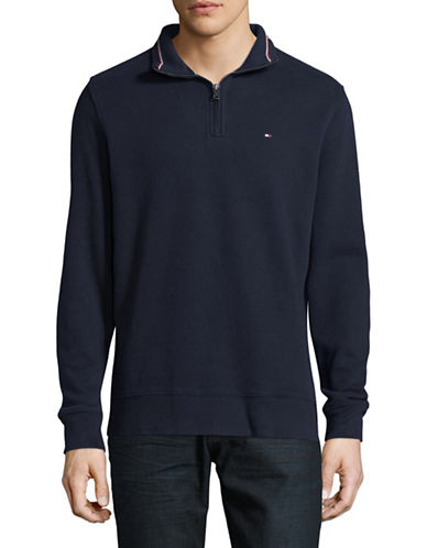 Tommy Hilfiger Cotton Quarter Zip Sweater-NAVY-Medium