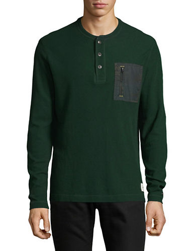 Tommy Hilfiger Pinelake Long-Sleeve Cotton Henley-GREEN-Large