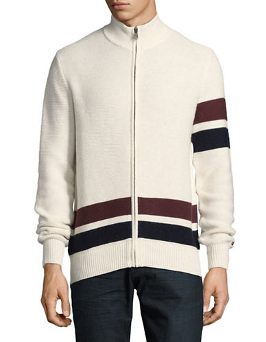Tommy Hilfiger Forest Full Zip Sweater-WHITE-Large