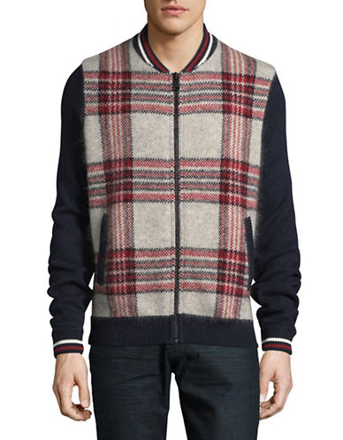 Tommy Hilfiger Plaid Bomber Sweater-GREY-XX-Large