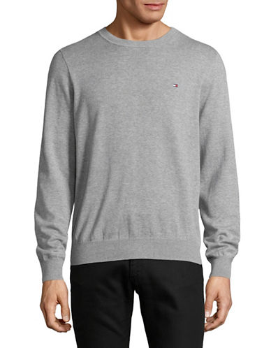 Tommy Hilfiger Solid Crew Neck Sweater-GREY-Medium
