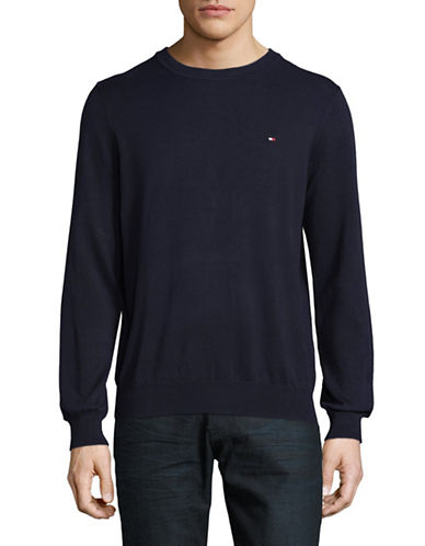 Tommy Hilfiger Solid Crew Neck Sweater-NAVY-X-Large