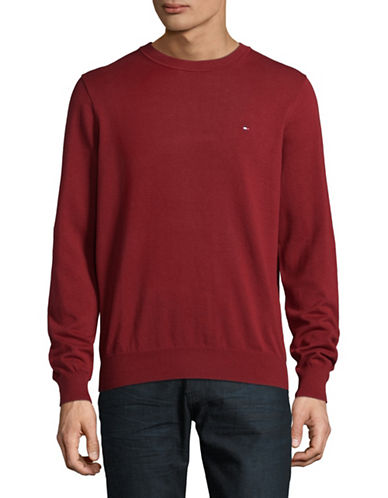 Tommy Hilfiger Solid Crew Neck Sweater-RED-XX-Large