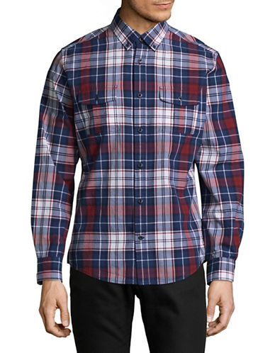 Tommy Hilfiger Cotton Plaid Shirt-BLUE-Medium