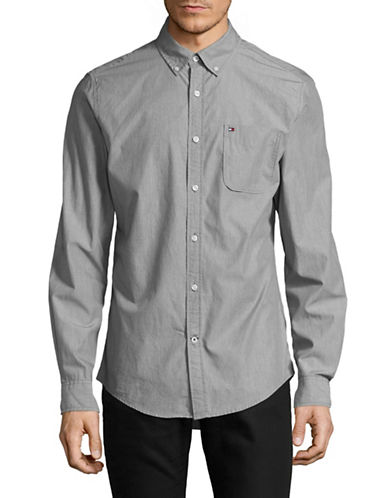 Tommy Hilfiger Gibson Long Sleeve Cotton Sport Shirt-GREY-XX-Large