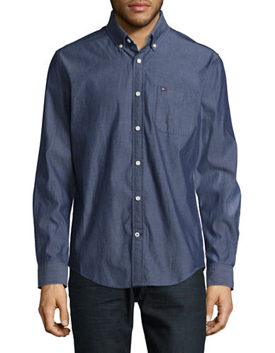 Tommy Hilfiger Long Sleeve Cotton Sport Shirt-BLUE-Large