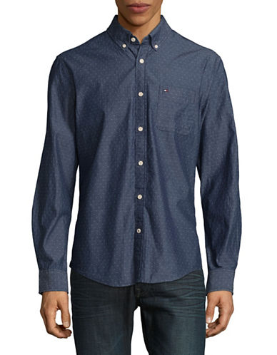 Tommy Hilfiger Dean Chambray Sport Shirt-BLUE-XX-Large