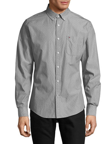 Tommy Hilfiger Drew Dobby Custom-Fit Cotton Sport Shirt-GREY-X-Large